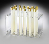"Clear acrylic carrier has metal handle and is designed to carry 14 candles, 10"" to 16"" high for convenient refilling.. Made to fit your particular diameter candle ~ 7/8"", 1"", 1-1/8"", 1-1/4"" 1-1/2"", or 1-7/8"". Measure 15 1/4L x  7 1/2""W x 9""H. Made to specific dimensions. NON RETURNABLE!!!!"