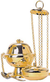 """Four chain Thurible (censer) with incense boat and spoon. 4-1/2"""" height, 3-3/4"""" diameter bowl. Available in Nickel Plated  or 24K Gold Plated finish"""