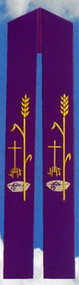 "Stole with Grapes Wheat Cross IHS Beautifully Raised Multicolor Swiss Schiffli Embroidery Lined and interlined texturized fortrel polyester Available in all liturgical colors Approximate dimensions 55"" x 6"""