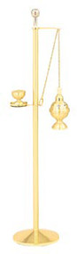 "Brass two-tone finish. Includes (K406) reservoir sprinkler, which holds 2 oz. Holy water. Holy water sprinkler is removable. Dimensions: 50"" H, 10 1/2"" base"