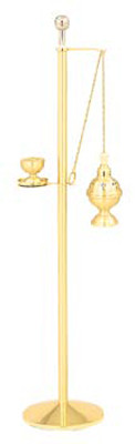 """Brass two-tone finish. Includes (K406) reservoir sprinkler, which holds 2 oz. Holy water. Holy water sprinkler is removable. Dimensions: 50"""" H, 10 1/2"""" base"""