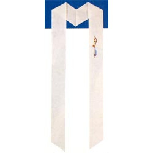 "F-2 Baptismal Stole for Adults - Beautiful multi color designs imprinted on pure white polyester felt. Individually packaged. 4.5"" x 41"""