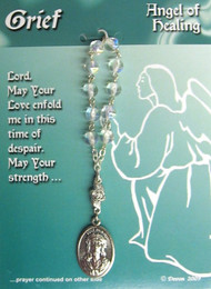 "One Decade Rosary ~ Angel of Grief & Despair. Contains a prayer on the reverse side of the card.  Pray one decade of the Rosary, and then pray the prayer on the card.  Medal is 4"" long; and measures 1"" x 5/8""."