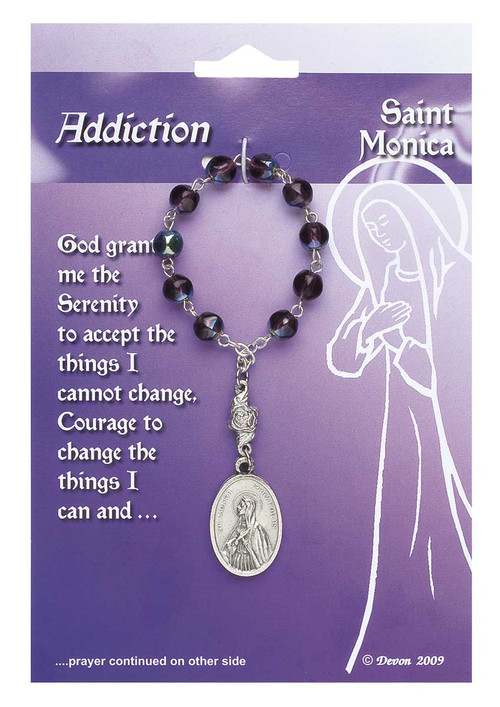"""Patron Saint of Addictions, Difficult Marriages, Widows, Mothers, Victims of Abuse. Contains a prayer on the reverse side of the card.  Pray one decade of the Rosary, and then pray the prayer on the card.  4"""" long; medal is 1"""" x 5/8""""."""