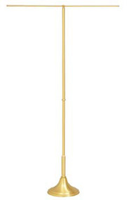 "BanneProcessional Banner Stand. Furnished with removable telescoping shaft or rigid shaft. 10 1/2"" base, 36"" cross arm. Solid brass construction with a brass satin finish. *K173-B telescoping shaft extends 51"" to 90"". *K173-C 60"" rigid shaft. **Furnished with telescoping cross arm, extends 24"" to 45"", for an additional cost."