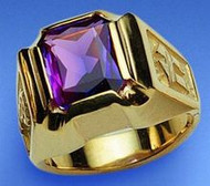 Bishop's Ring Synthetic Amethyst Octagon 6 x 8 mm ~ Sterling Gold Plate or 14K Gold. Prices subject to change-Add 10% for rings over size 12. These are custom orders allow 7 to 10 business days.