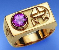 Synthetic Amethyst Octagon 6  mm ~ Sterling Silver Gold Plate or 14K Gold. -Add 10% for rings over size 12. These are custom orders allow 7 to 10 business days.