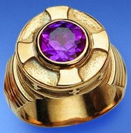 Image of a 10-millimeter amethyst set in either a sterling silver gold plate or 14k gold ring.
