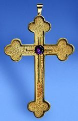 Pectoral Cross, 3 7/8in Tall, Brass Gold Plate, 24K Gold, Sterling Gold Plate