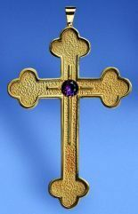 "Pectoral cross 3 ⅞"" in brass gold plate, sterling gold plate, or 24K gold - St. Jude Shop"