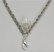 """Pectoral Chain, Size 48"""" Rodium Plated French Rope Style Pectoral chain with Mitre hook. Chain ONLY."""