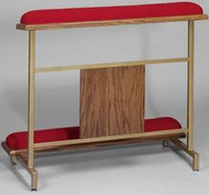 """Attractive but sturdy metal construction. Durable Gold powder coated finish with oak accents. Red fabric over resilient super-foam. Size 40"""" Width x 34"""" Height. Instructions for easy assembly included. Interlocking """"Wedding Rings"""" symbol available at an additional price."""