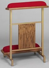 "Attractive but sturdy metal construction. Durable Gold powder coated finish with oak accents. Red fabric over resilient super-foam. Size 24""  Width x 34""  Height. Instructions for easy assembly included."