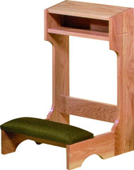 """Solid Oak construction with medium Oak finish. Quality Upholstery with super-foam padding. Size: 32""""H x 21D"""" x 22""""W and 5"""" shelf or 32""""H x 21D"""" x 36""""W and 5"""" shelf. Ships in two pieces with easy assembly."""