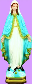 "Colored- 24"" Our Lady of Grace, detailed lawn and garden vinyl outdoor statue is designed for lasting durability indoors and outdoors."