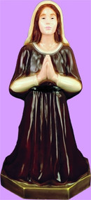 Colored - St. Bernadette Praying. Patron Saint of Bodily Illness. Detailed lawn & garden statue is designed for lasting durability indoors and outdoors use. Available in several  finishes: White, Color, Patina, Granite, Wood Stain, Bronze