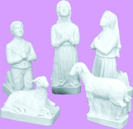 "White: This detailed beautiful 5 pc. Fatima Children/Sheep set is designed for lasting durability (Indoor & Outdoor use) to accompany your 24"" Lady of Fatima Statue to make your favorite spot complete. 13"" Lucia, 12"" Francisco, 10""Jacinta, 5"" & 7"" Sheep."