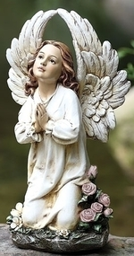"Add a beautiful style to your garden by adding this kneeling and praying angel statue. This statue features an angel kneeling by flowers, with her hands together in prayer.  Dimensions: 15.75""H x 8""W x 5.5""D. Statue is made of a resin and stone mix"