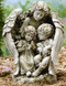 "16""  Guardian Angel Holding Children Outdoor Garden Statuary. Dimensions: 15.75""H 9.25""W 8.5""D ~ Resin Stone Mix"