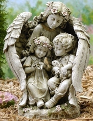 Statue of guardian angel with wings wrapped around two kids.
