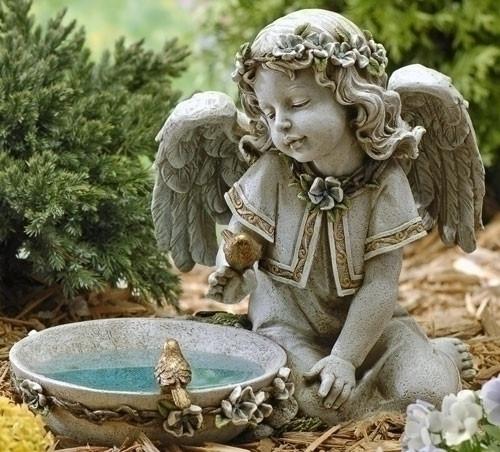 "11"" Solar Angel Birdbath, Outdoor statue . Dimensions: 10.75""H x 14""W 9""D . Resin/Stone Mix"