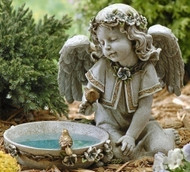 "11"" Solar Angel Birdbath, Outdoor statue . Dimensions: 10.75""H 14""W 9""D . Resin/Stone Mix"