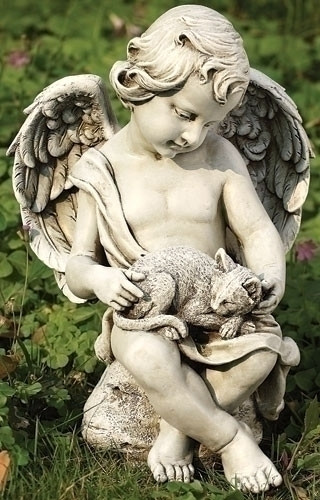 Garden statue of a cherub sitting on a stone and holding a kitten in his lap.