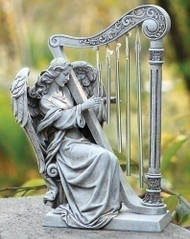"Garden Collection ~ Angel Playing Harp Chimes. Dimensions: 10""H 7.25""W  x 4.25""D.  The angel playing a harp garden chimes figure is made of a Resin/Stone Mix"