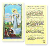Our Lady of Medjugorje, Prayer to the Mother of Goodness, Love & Mercy, Queen of Peace Laminated Holy Card