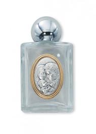 Holy Family Raised Medallion on Glass Holy Water Bottle