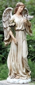 Garden statue of an angel holding a dove and flowers.