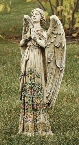 """Praying Angel Adorned in Roses Garden or Indoor Statue. 24""""H 10""""W x 6.25""""D. Resin/Stone Mix"""