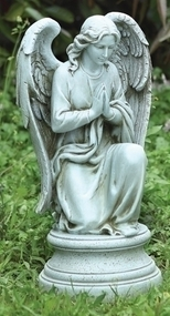 "This garden statue can make a great addition to your outdoor space. This statue features an angel kneeling on a pedestal with her hands together in prayer. Dimensions of the Praying Angel Statue are 17.75""H x 9.5""W x 8""D. The Praying Angel Statue is made of a resin and stone mix. Weight 6 lbs"
