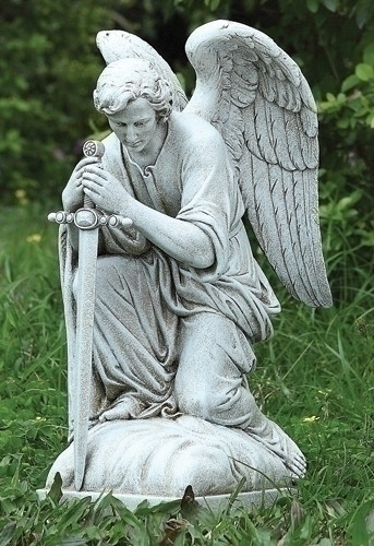 Kneeling male angel garden statue with sword.
