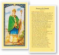 Prayer to Saint Patrick Laminated Holy Card. Clear, laminated Italian holy card.  Features World Famous Fratelli-Bonella Artwork. 2.5'' x 4.5''