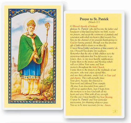 Prayer to Saint Patrick Laminated Holy Card. Clear, laminated Italian holy card.  Features World Famous Fratelli-Bonella Artwork. 2.5'' x 4.5''