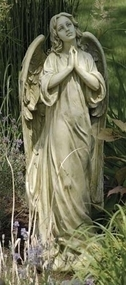 "This beautiful garden statue offers a natural and religious touch to your outdoor decor. This statue features a 36""H  angel with her hands together in prayer. Statue is made of a resin/stone mix."