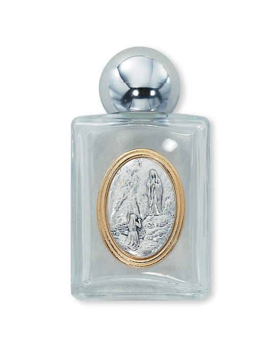 """Glass Holy Water Bottle ~ Raised medallion Our Lady of Lourdes. Holds 1 ounce of water ~ 3 1/4"""" X 1 3/4"""""""