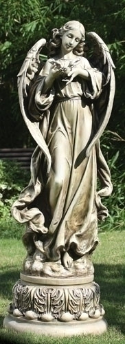 "Garden Angel Collection ~ Pedestal Angel With Dove. Dimensions:  46.75""H 16.5""W  x  15.75""D. Statues is made of a Resin / Stone Mix"