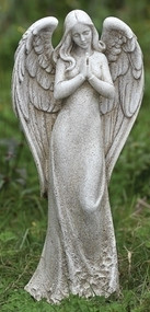 "Garden Angel Collection. Praying Angel Statue . 14.5""H 6.5""W x  4.13""D . Resin / Stone Mix"