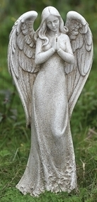 "This praying angel statue can make a beautiful and elegant addition to your garden. This statue features a standing angel with her hands together in prayer. Dimensions: 14.5""H x 6.5""W x 4.13""D Resin and stone mix"