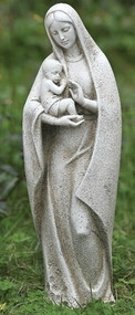 "Garden Collection, Madonna and Child Statue. 14""H 4.25""W x 4""D. Resin / Stone Mix"