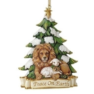 "Christmas Ornament ~ Lion and Lamb "" Peace on Earth"". Measurements: 5.125""H 3.75""W 1.38""D. Made of a Resin/Stone Mix"