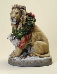 """Lion and Lamb Figure ~ """"Peace On Earth"""". 19.25""""H x 14.75""""W  x 10.5""""D. Resin/Stone Mix"""