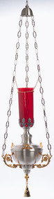 """Hanging Sanctuary Lamp. Soft silver plate with gold plated accents. 48"""" height  overall. 12"""" diameter. Glass not included"""