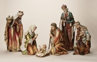 "Gold Accented Nativity Set ~ 6-pc set. This beautiful nativity set has pieces ranging from  5"" - 20"".  Resin/Stone Mix"