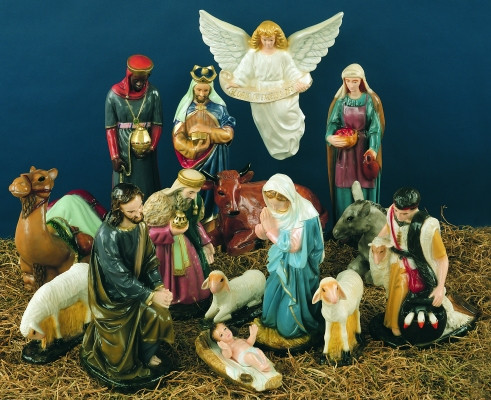 36in indoor outdoor white nativity figures st jude shop for Outdoor christmas figures