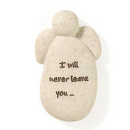 """This 2"""" Faith Angel pocket stone is inscribed with: """"I will never leave you"""" on front of Faith Angel Pocket Stone.  The Faith Angel Pocket Stone measures:  2""""H x 0.5""""W x 1.25""""L. (Picture  shown is larger than actual item)"""