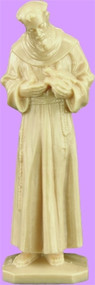 """3"""" Statue-St. Francis Statue is carefully crafted and molded in Vinyl with an exclusive process for years of lasting use. 3"""", 4"""" or 6"""" Sizes available. Tan color only. Details differ for each statue size."""