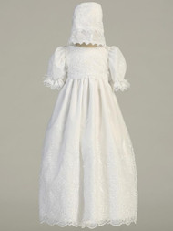 Emily ~ Long Sleeve Embroidered Organza Christening Gown. Sizes : 0-3m (7-12lb), 3-6m (12.5-16lbs) , 6-12m (16.5-20lbs), 12-18m (24.5-27lbs). Made In USA